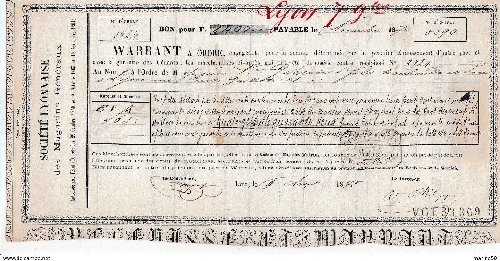 F1 - WARRANT à ORDRE N° 2924 Du 7 Novembre 1870 Avec Timbre Effet De Commerce - Fiscaux