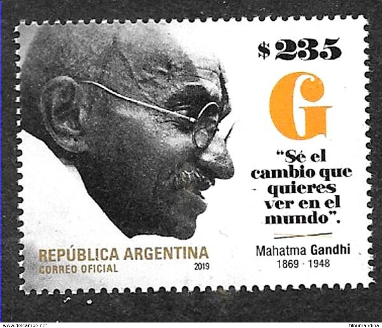 AA14-ARGENTINA 2019 INDIA MAHATMA GANDHI 150° ANIVERSARY NEUF,MNH,POSTFRISCH - Argentina