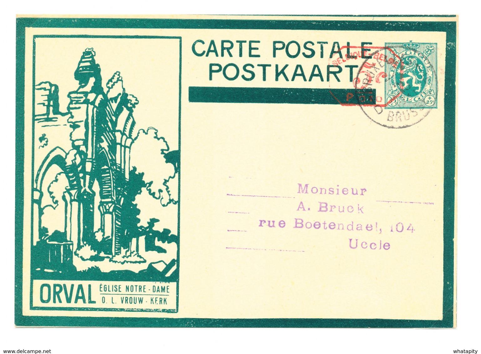 500/30 --Empreinte Mécanique 5 C S/ Entier Illustré ORVAL Sans Ange Vert Foncé - BRUXELLES 1931 - Cat. SBEP NON SIGNALE - Stamped Stationery