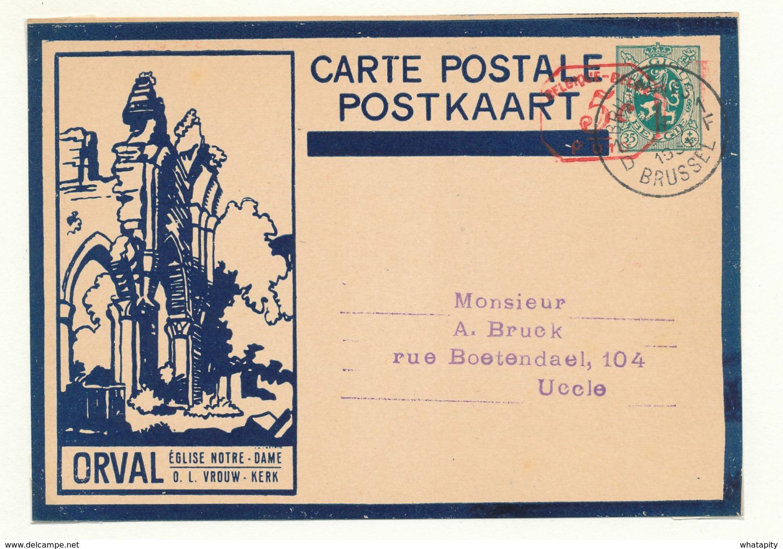 501/30 --Empreinte Mécanique 5 C S/ Entier Illustré ORVAL Sans Ange Bleu Foncé - BRUXELLES 1931 - Cat. SBEP NON SIGNALE - Stamped Stationery