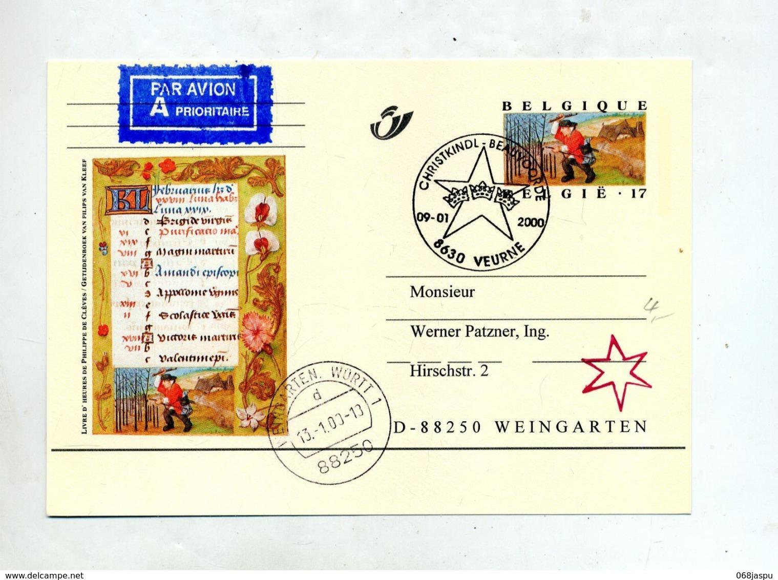Carte Postale 17 Messager Cachet Veurne Christkindl Illustré + Weingarten - Stamped Stationery
