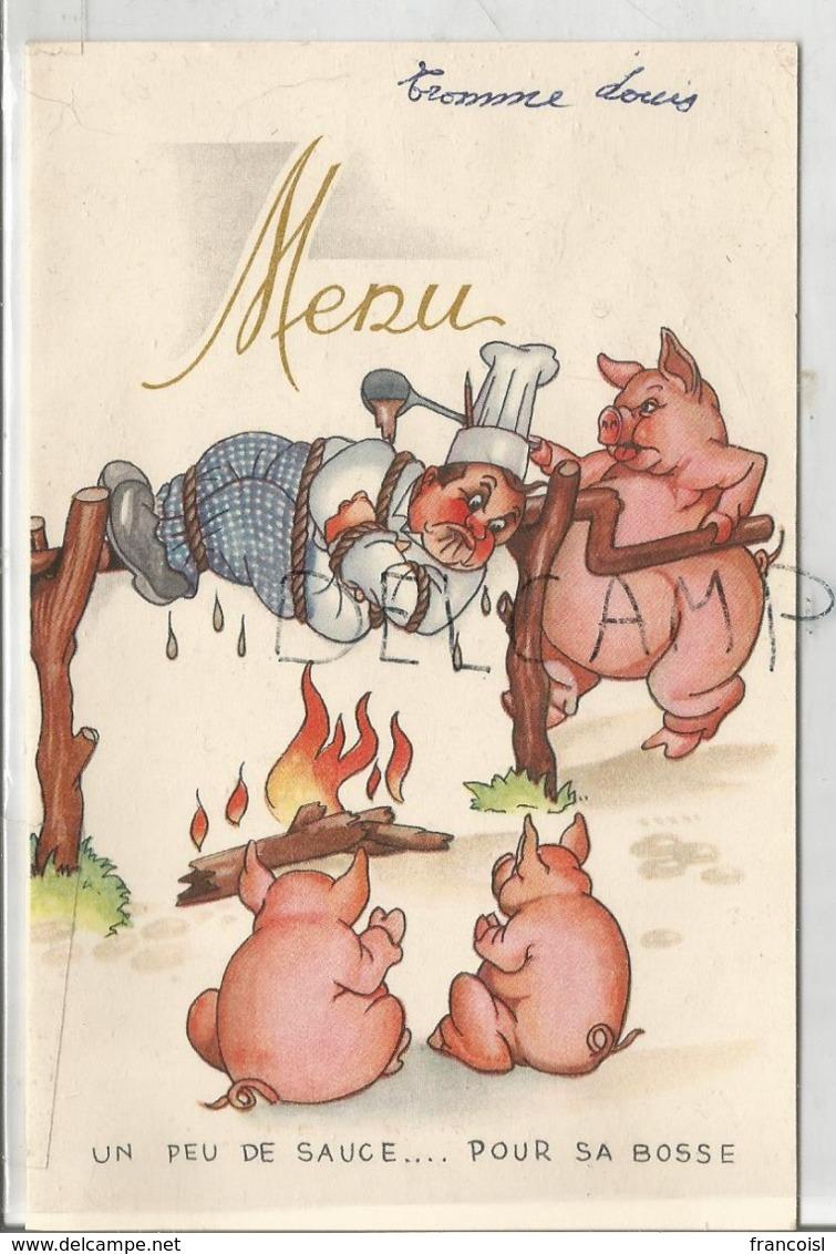 Mariage De Louise Et Clément. Vengeance De Cochons: Le Cuisinier Est Embroché. - Menus