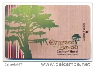 Cypress Bayou Casino & Hotel, Charenton, LA,  U.S.A., Used Magnetic Hotel Room Key Card # Cypress-1 - Cartas De Hotels