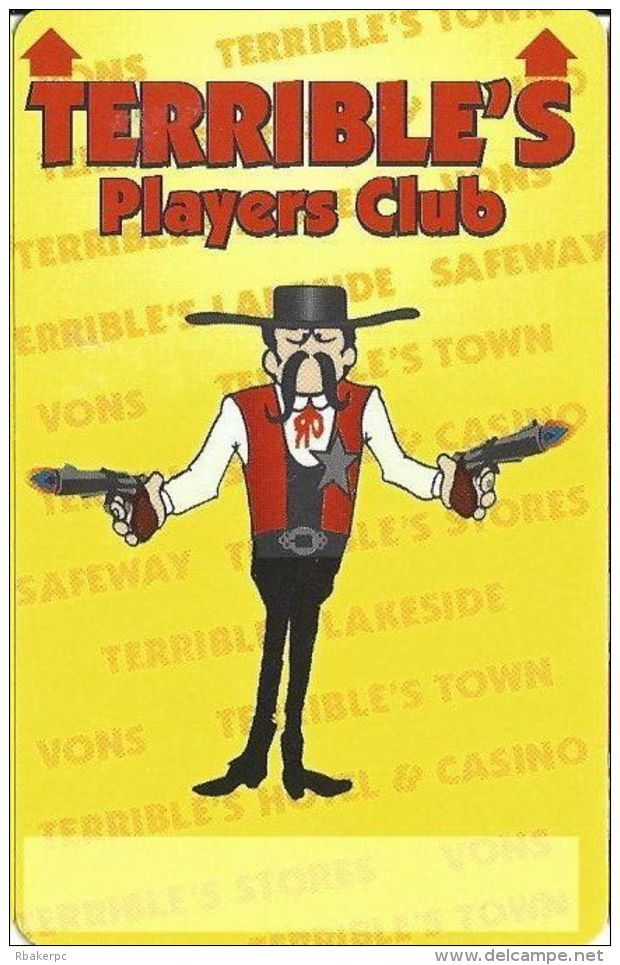 Terrible's Casino Las Vegas, NV - 1st Issue Slot Card - Text Under Signature Box (BLANK) - Casino Cards
