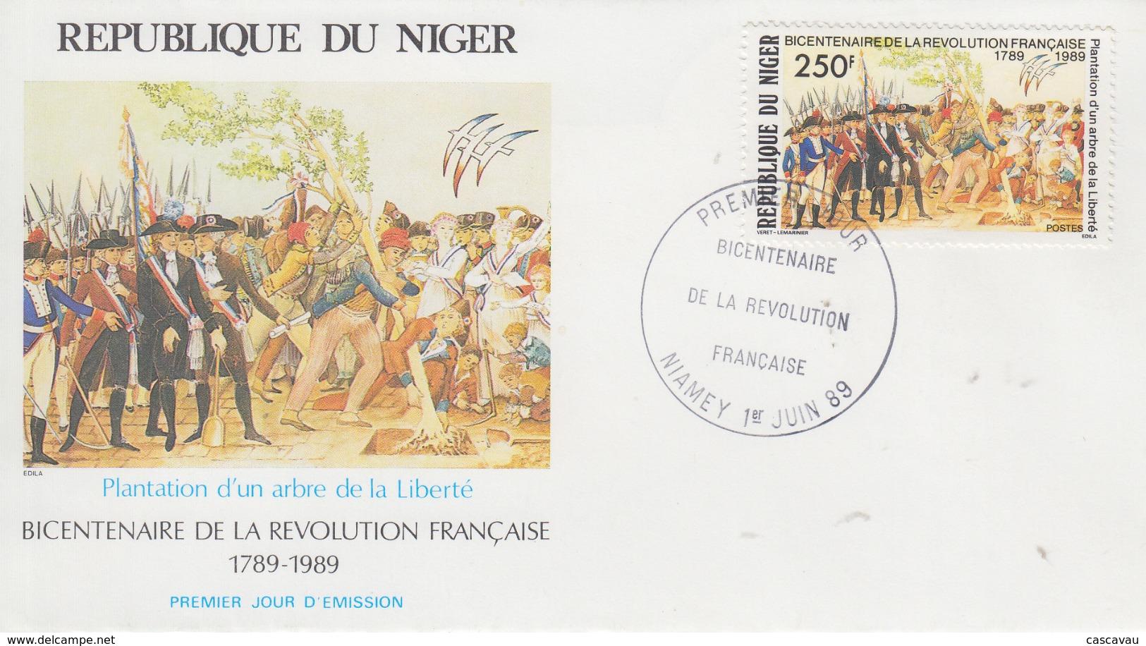 Enveloppe  FDC  1er  Jour   NIGER    Bicentenaire  De  La   REVOLUTION   FRANCAISE    1989 - Franz. Revolution