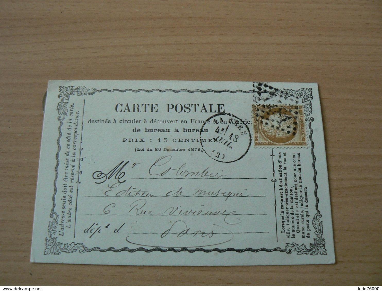 CP 162 /  CERES N° 59 SUR CARTE POSTALE - 1871-1875 Cérès