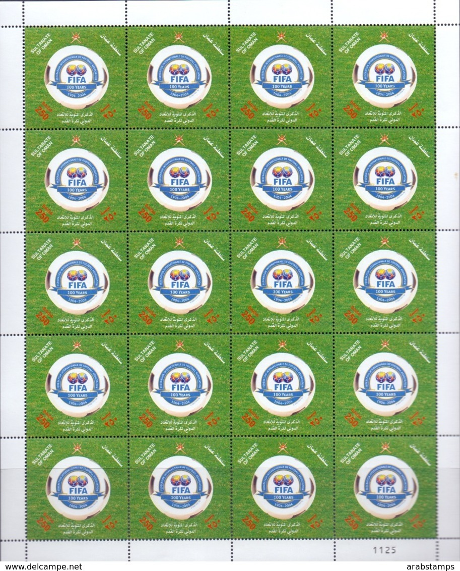 2004 OMAN 100 Years Of FIFA Complete Sheet 20 Values MNH - Oman