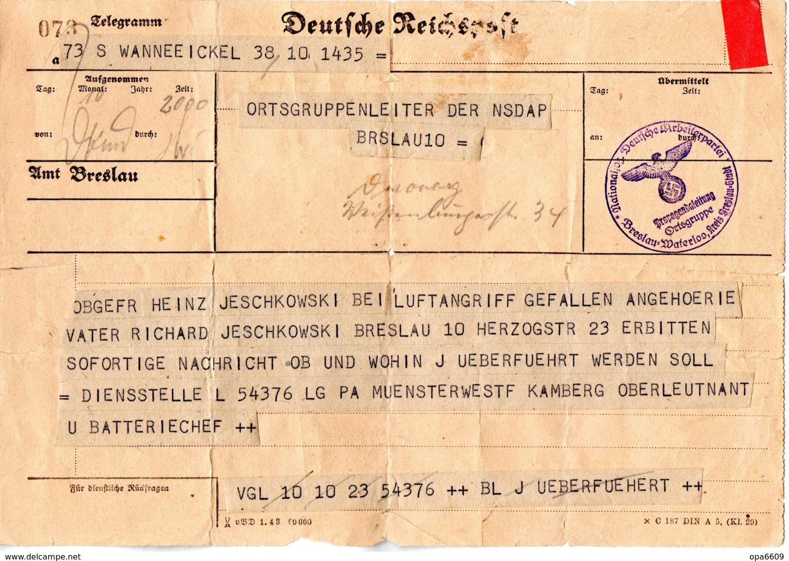 """(2WK-3) Deutsche Reichspost Telegramm An Den Ortsgruppenleiter Der NSDAP Breslau """"Gefallenenanzeige"""" - Allemagne"""