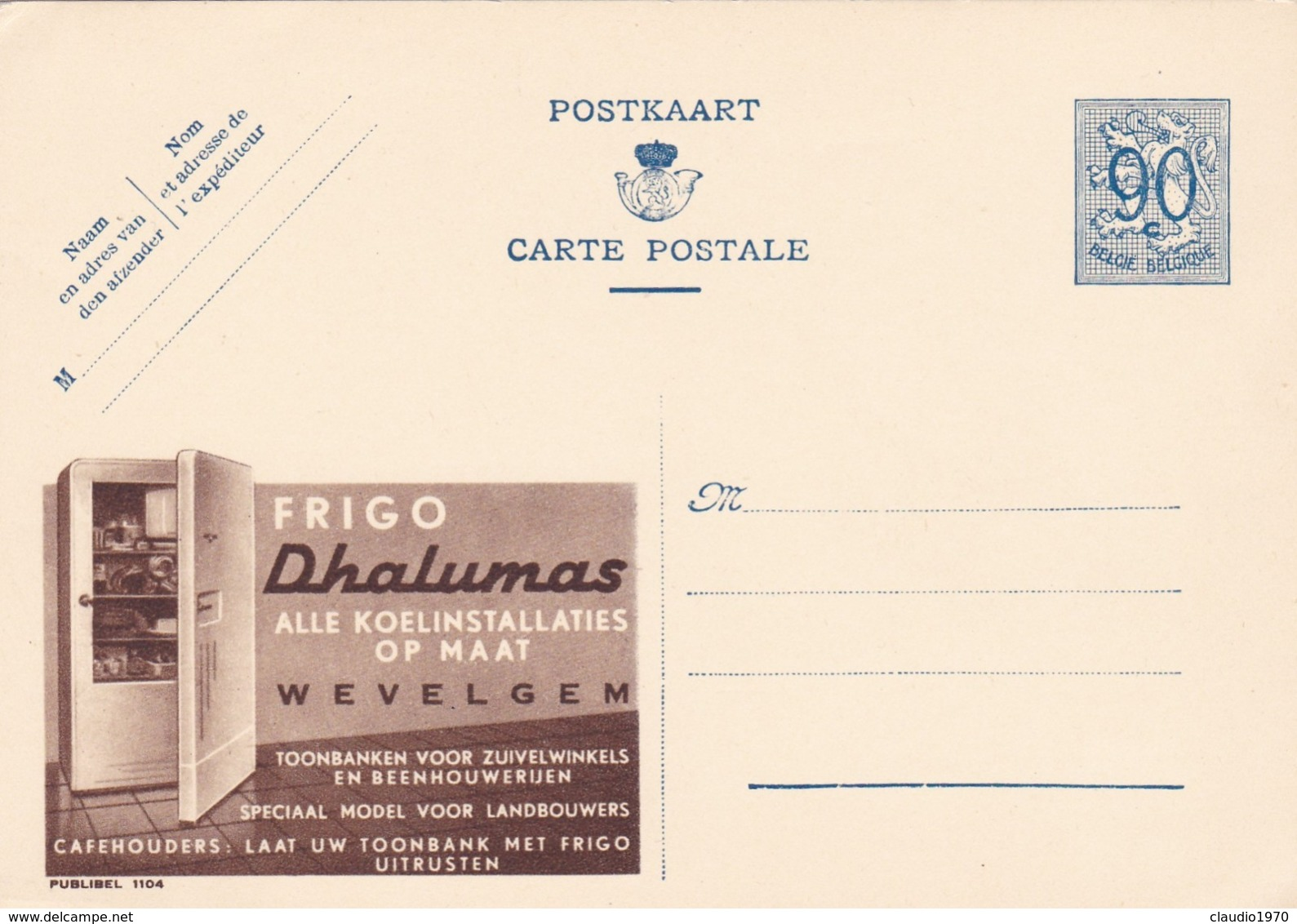 BELGIO - STORIA POSTALE NON VIAGGIATA - BELGIO - INTERO POSTALE 90 C. - FRIGO DHALUMAS - Illustrat. Cards