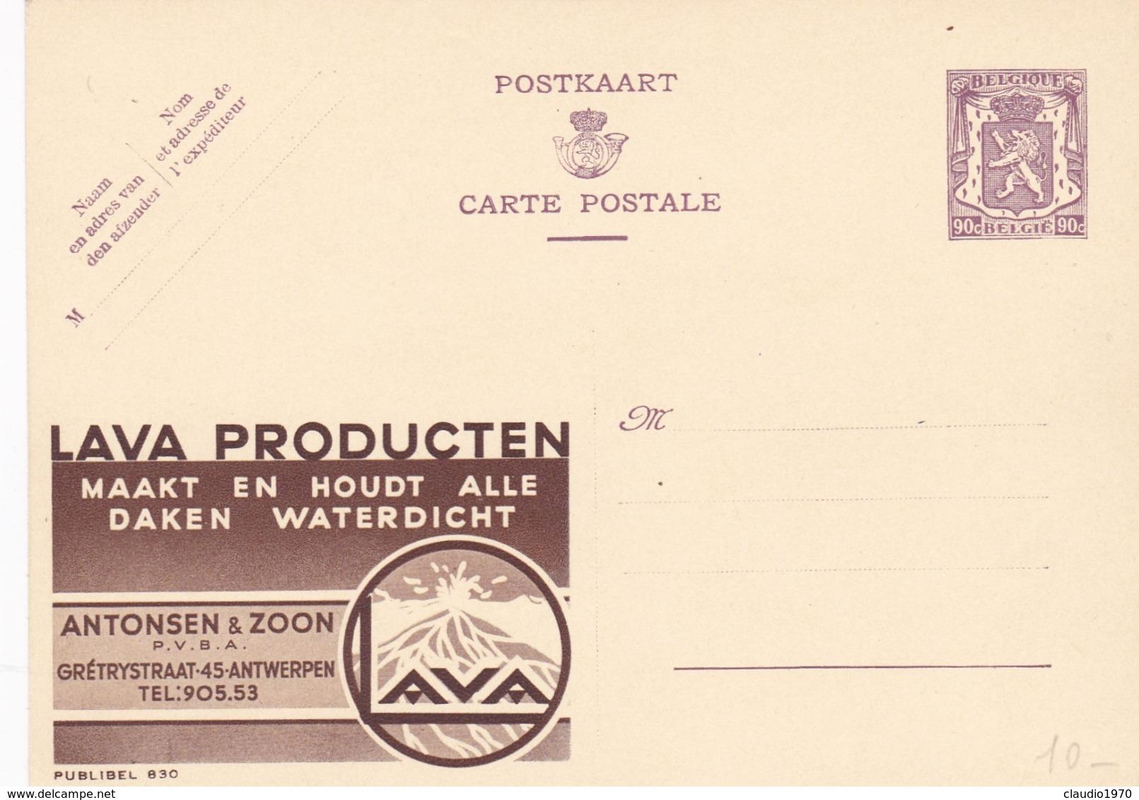 BELGIO - STORIA POSTALE NON VIAGGIATA - BELGIO - INTERO POSTALE 90 C. - LAVA PRODUCTEN - Stamped Stationery