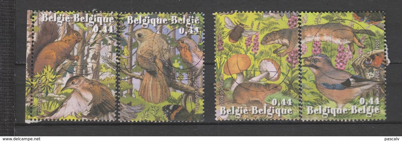 COB 3312 / 3315 Oblitération Centrale Nature Animaux Animals écureuil Oiseau Papillon - Used Stamps