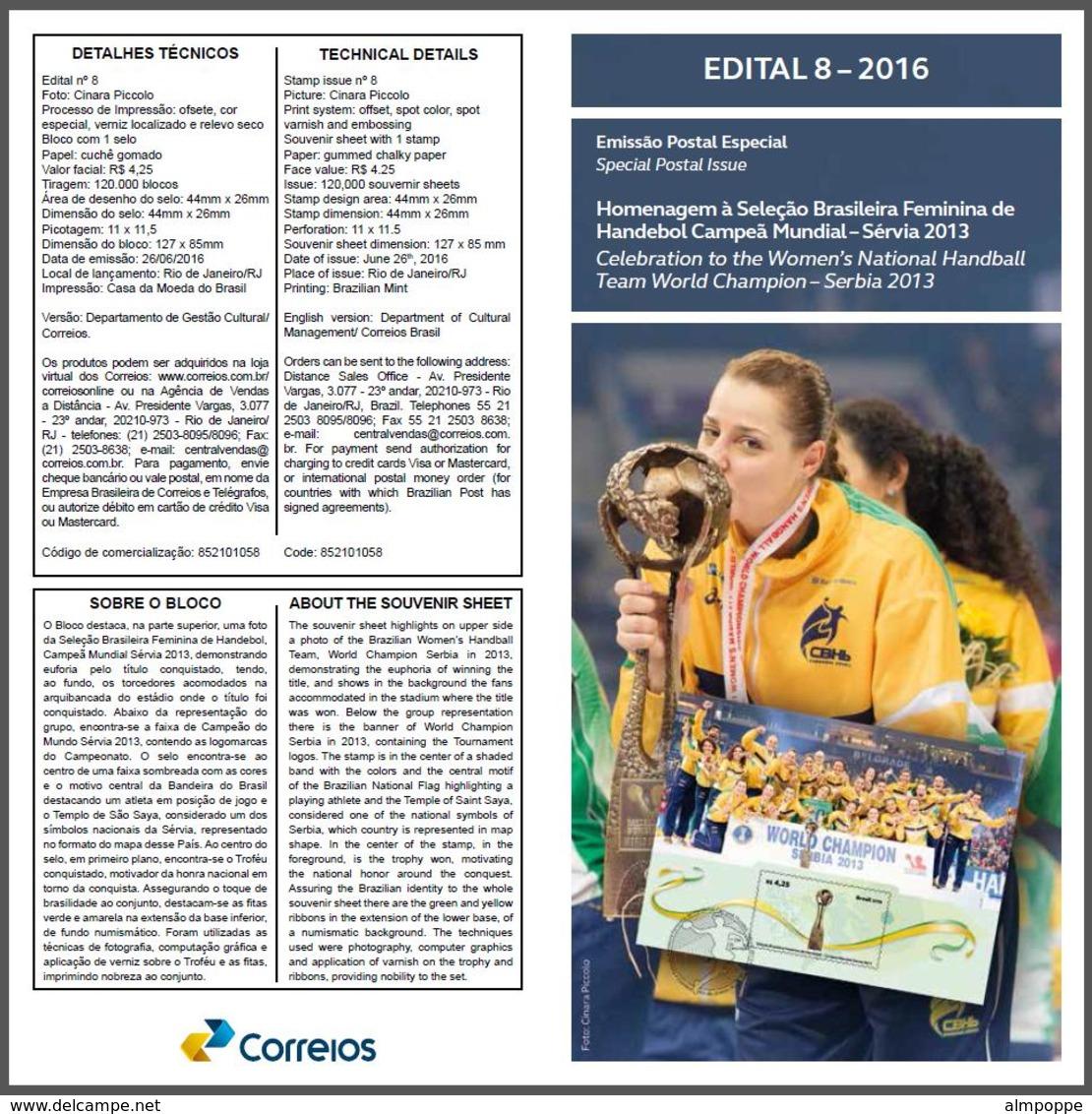 Ref. BR-V2016-10+E BRAZIL 2016 SPORTS, TRIBUTE FEMALE HANDBALL,, WORLD CHAMPION IN 2013, S/S MNH + EDICT 1V - Ungebraucht