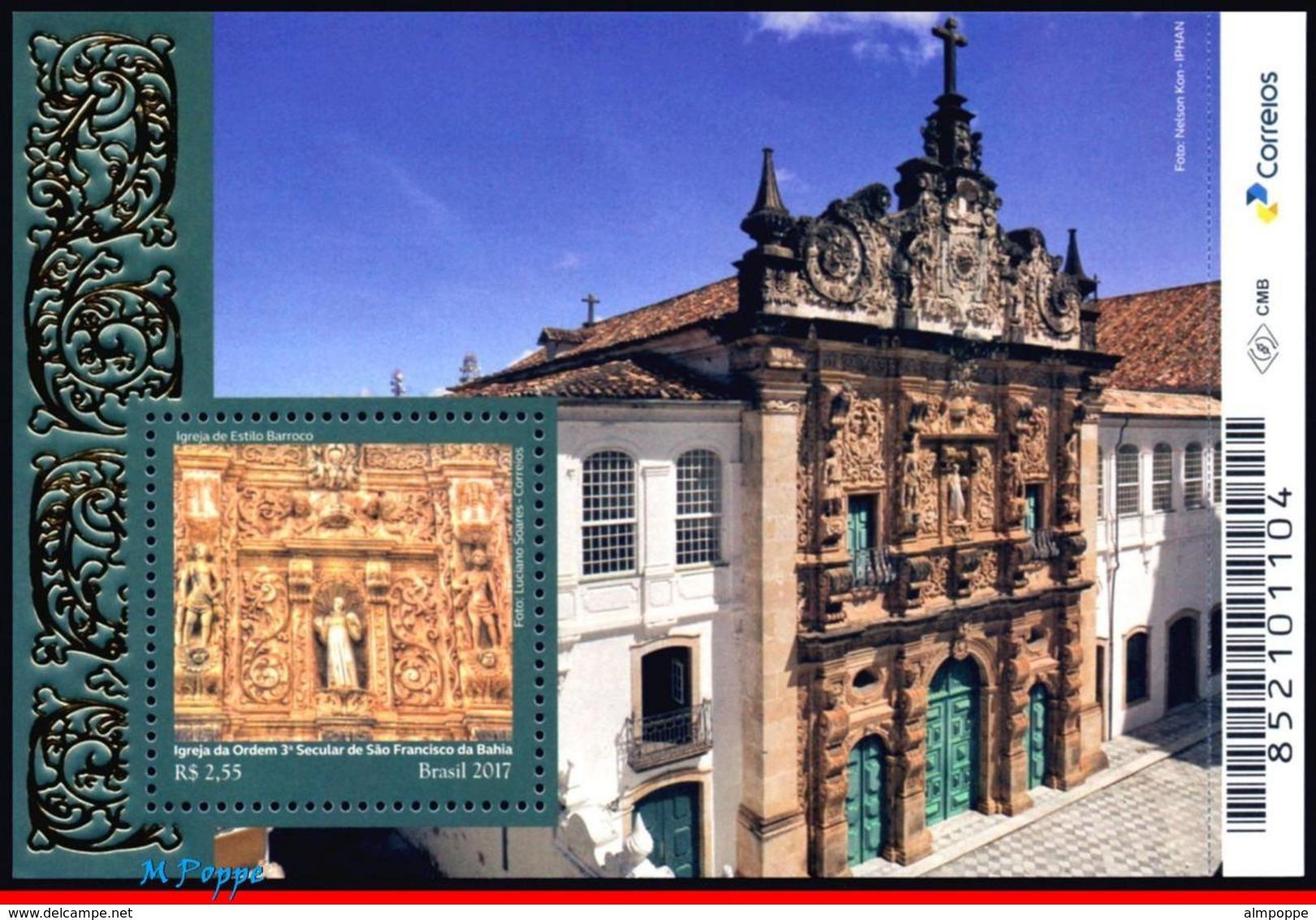 Ref. BR-V2017-23 BRAZIL 2017 CHURCHES, BAROQUE STYLE CHURCH,, RELIGION, ARCHITECTURE, S/S MNH 1V - Ungebraucht