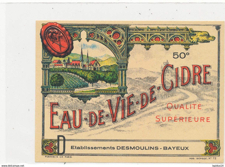 533 / ETIQUETTE -  EAU DE VIE DE CIDRE   ETS DESMOULIN BAYEUX   (CALVADOS) - Unclassified