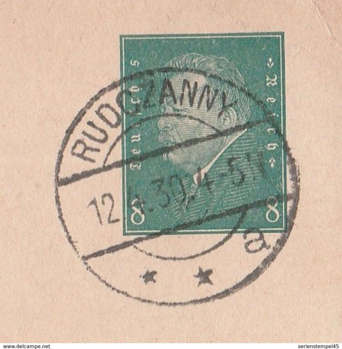 Ostpreussen Deutsches Reich Karte Mit Tagesstempel Rudczanny **a 1930 Lk Sensburg RB Allenstein - Deutschland