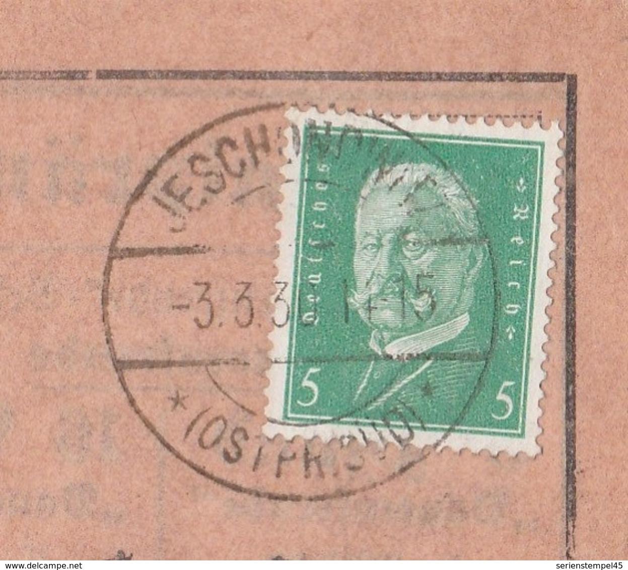 Ostpreussen Deutsches Reich Karte Mit Tagesstempel Jeschondwitz * Ostpr. Süd * 1930 Eschenwalde Lk Ortelsburg Allenstein - Briefe U. Dokumente