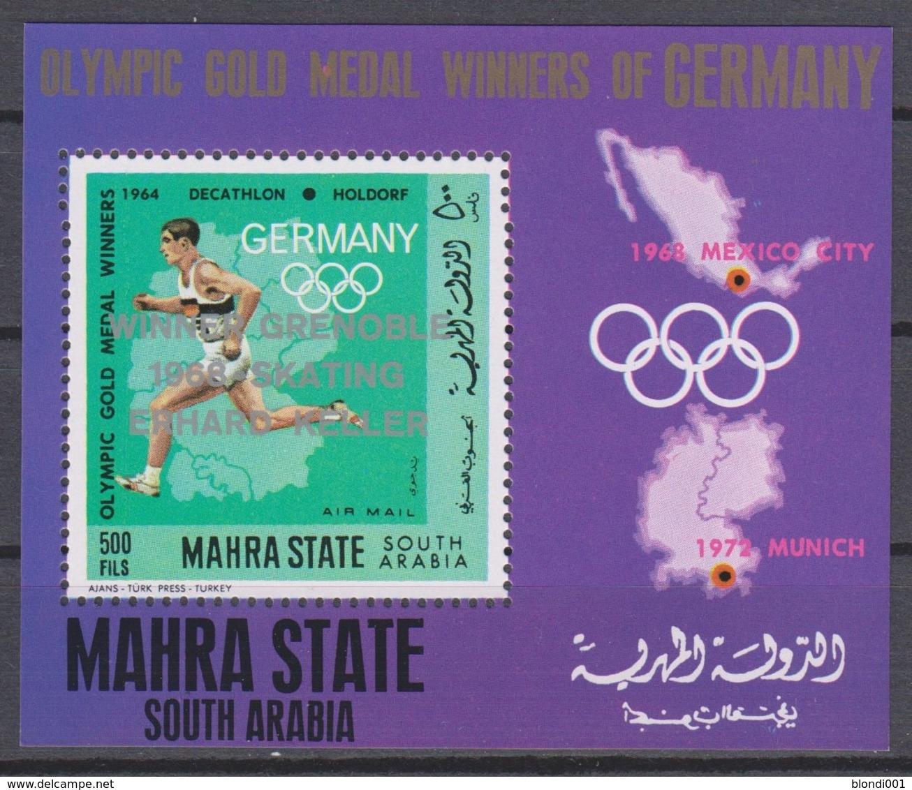 Olympics 1968 - Athletics - MAHRA STATE - S/S Silv Ovp MNH - Ete 1968: Mexico