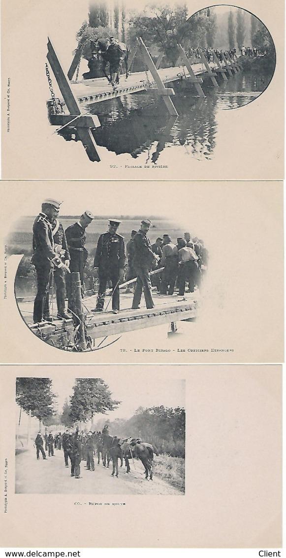 France -3 Belles Cartes NEUF 60/78/92 REPOS DE ROUTE / LE PONT BIRAGO / PASSAGE DE RIVIERE Vers 1900 - Manoeuvres