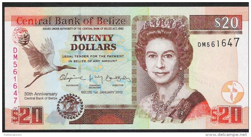 BELIZE P72  20 DOLLARS  1.1.2012#DM  COMMEMORATIVE 30th Anniversary Central Bank UNC. - Belize