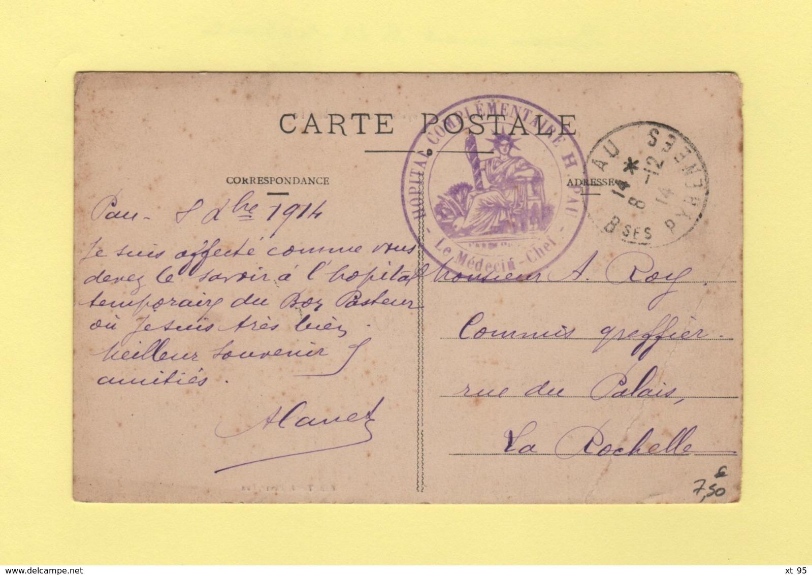 Hopital Complementaire H - Pau - Basses Pyrenees - 1914 - Marcofilie (Brieven)