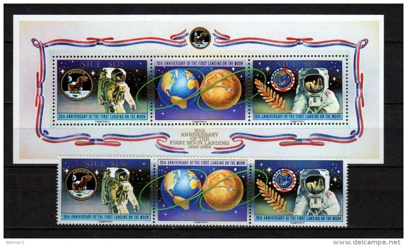 Niue 1989 Space Apollo 11 Moon Landing 20th Anniversary, Set Of 3 + S/s MNH - Raumfahrt