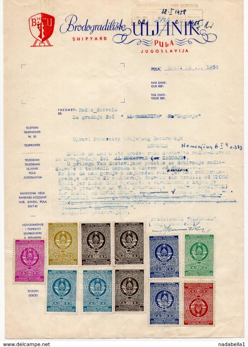 1958 YUGOSLAVIA, CROATIA, PULA, ULJANIK, SHIPYARD, SHIP BUILDING, 11 REVENUE STAMPS - Invoices & Commercial Documents