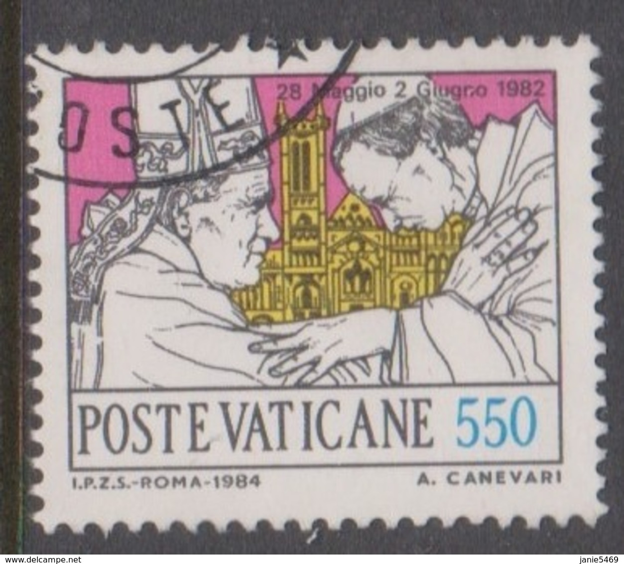 Vatican City S 775 1984 Journeys Of Pope John Paul II , 550 Lire Used - Vaticano (Ciudad Del)