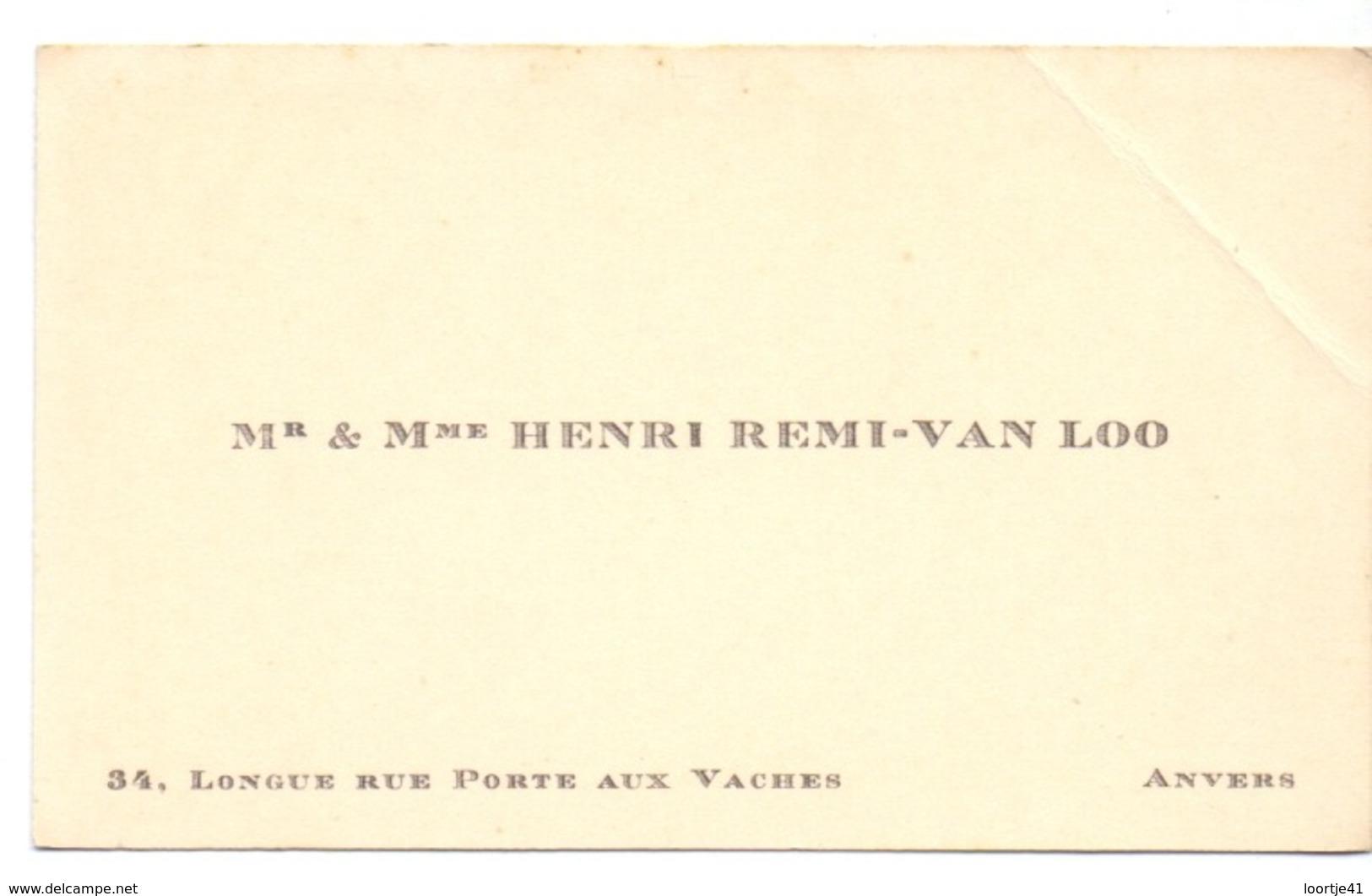 Visitekaartje - Carte Visite - Mr & Mme Henri Remi - Van Loo - Anvers Antwerpen - Cartes De Visite