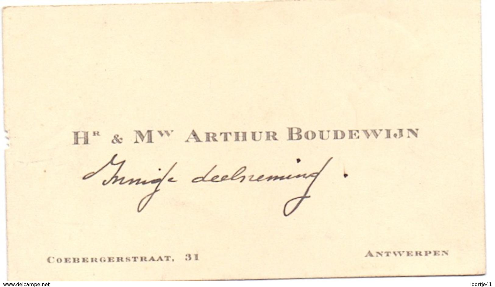 Visitekaartje - Carte Visite - Hr & Mw Arthur Boudewijn - Antwerpen - Cartoncini Da Visita