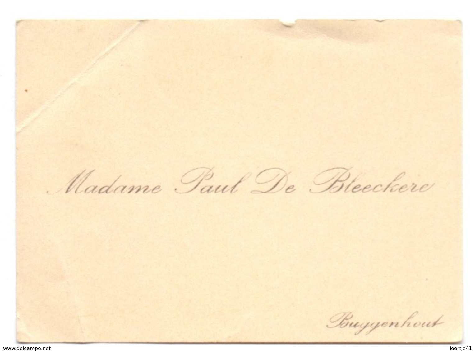 Visitekaartje - Carte Visite - Madame Paul De Bleeckere - Buggenhout - Cartoncini Da Visita