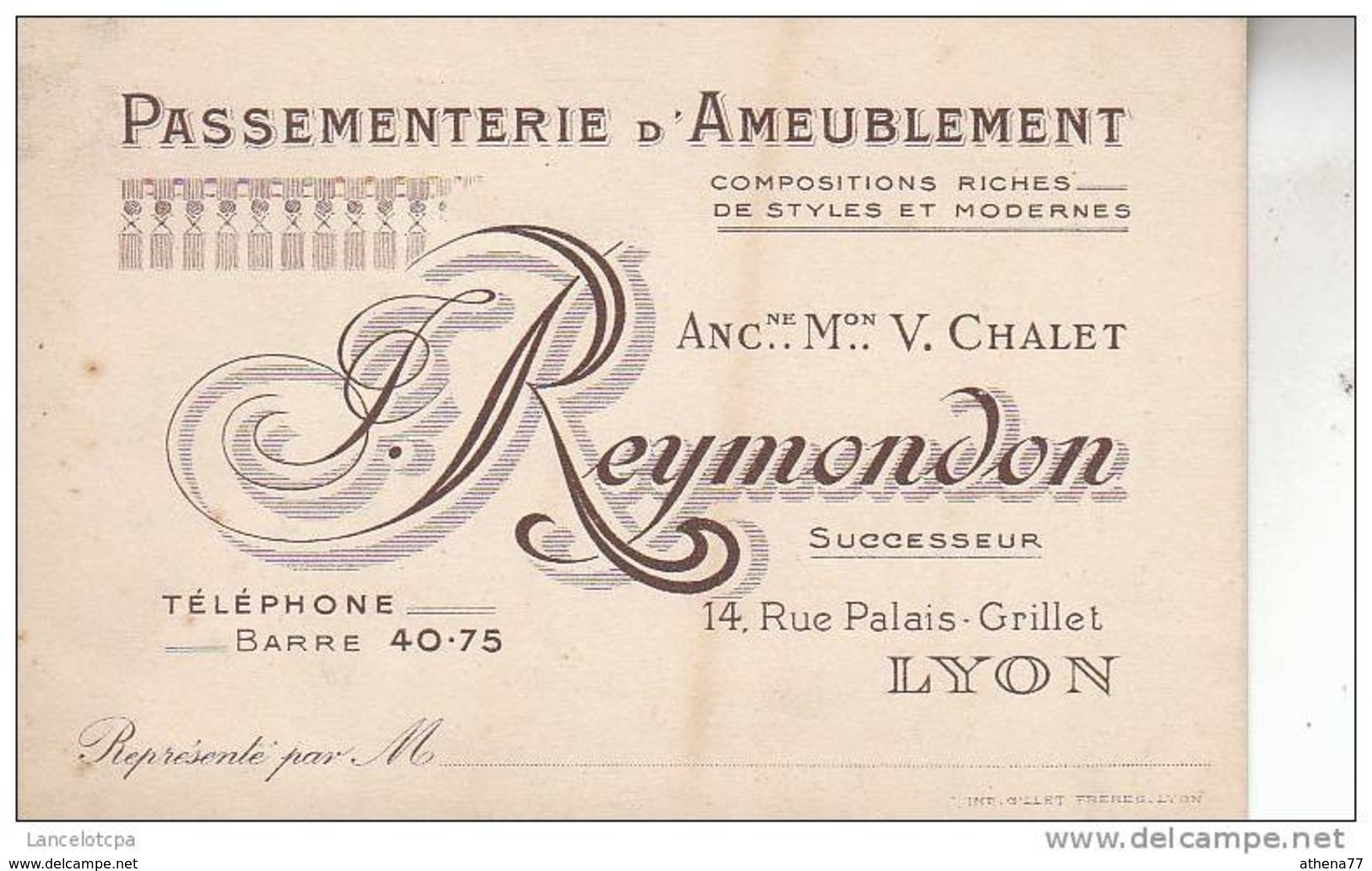 69 - LYON / CARTE DE VISITE - PASSEMENTERIE D'AMEUBLEMENT REYMONDON - 14 RUE PALAIS GRILLET - Cartoncini Da Visita
