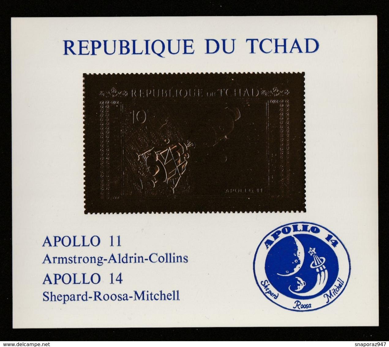 1971 Ciad Apollo 11/14 Espace Spazio Block Gold Printed MNH** Excellent Quality Nu143 - Raumfahrt