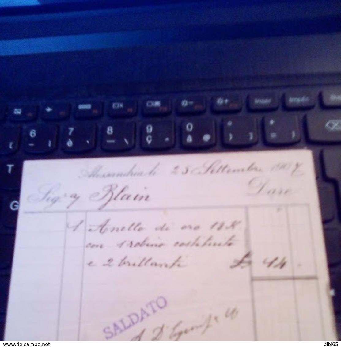 ALLESSANDRIA EGITTO ITALIA A. D'ESPOSITO 1907 - Cartoncini Da Visita