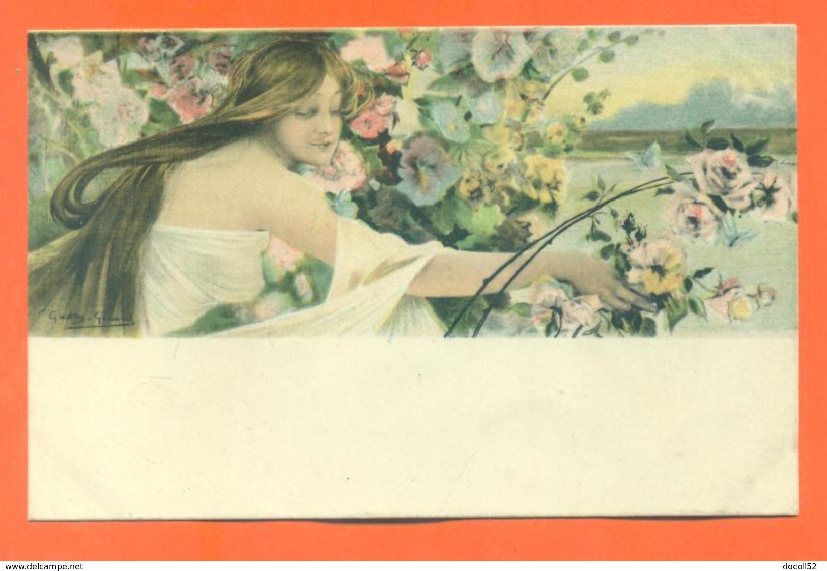 """CPA Art Nouveau Illustrateur Gaston Gérard """" Femme Cueillant Des Fleurs """" - Illustrators & Photographers"""