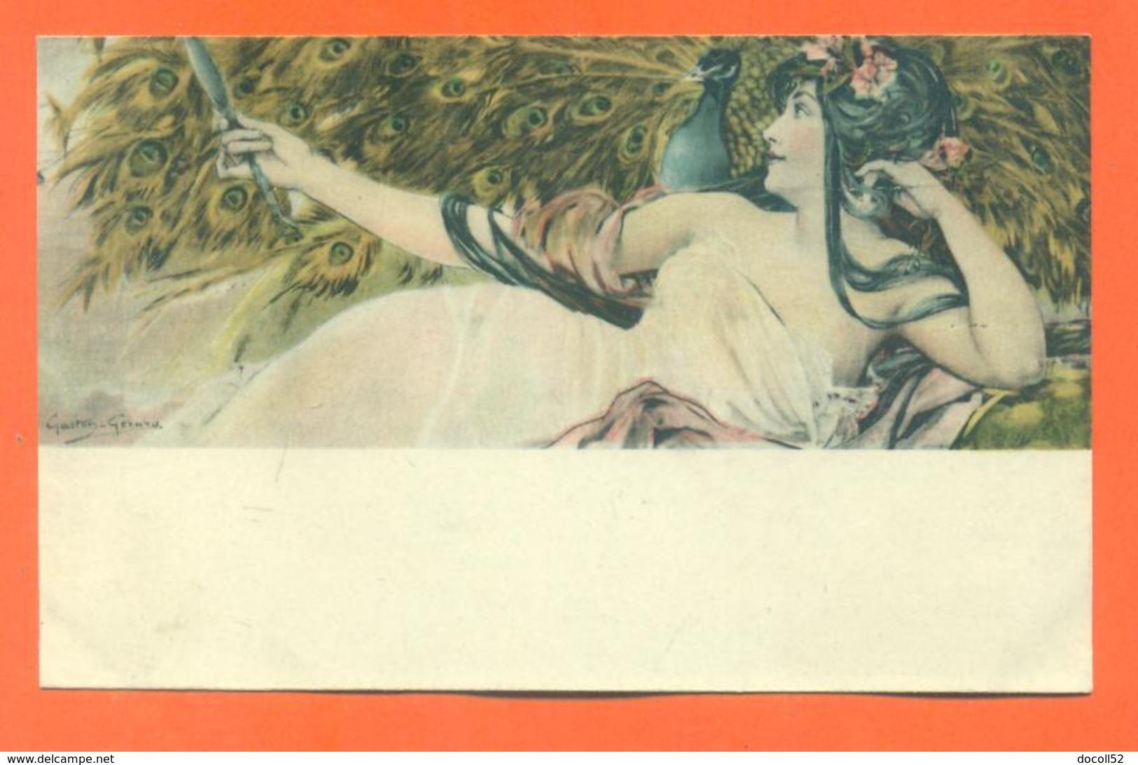 """CPA Art Nouveau Illustrateur Gaston Gérard """" Femme Et Un Paon """" - Other Illustrators"""