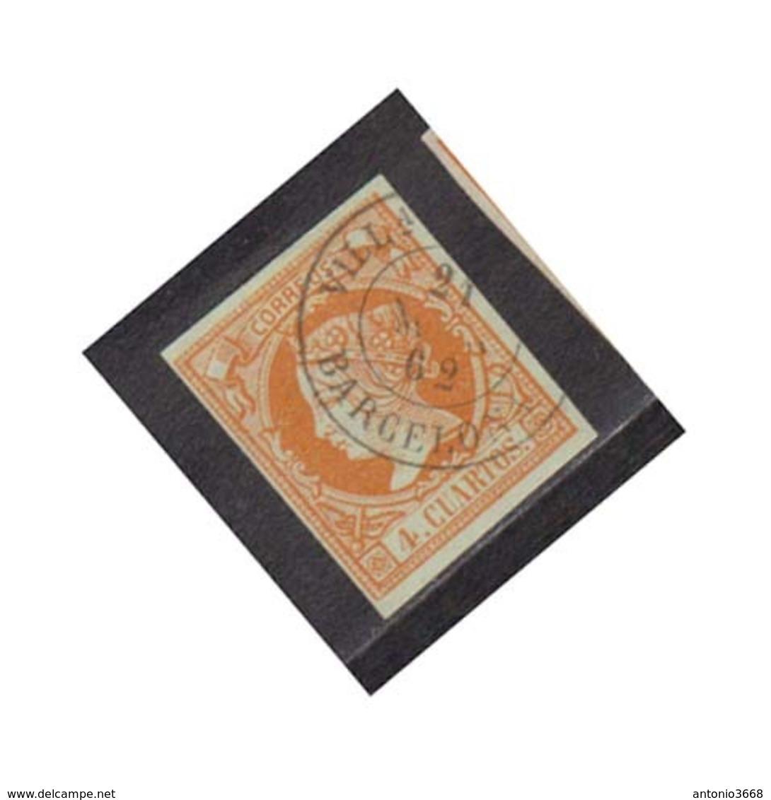 Año 1860 Edifil 52 Sello 4c Isabel II Matasellos Villanueva Y Geltru Barcelona  Tipo II - Used Stamps