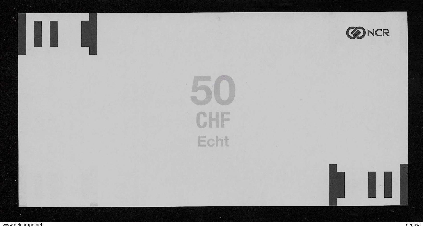 ATM Test Note NCR - Schweiz, 50 Units, Testnote, Typ A, Beids. Druck, RRRRR, UNC - Suiza