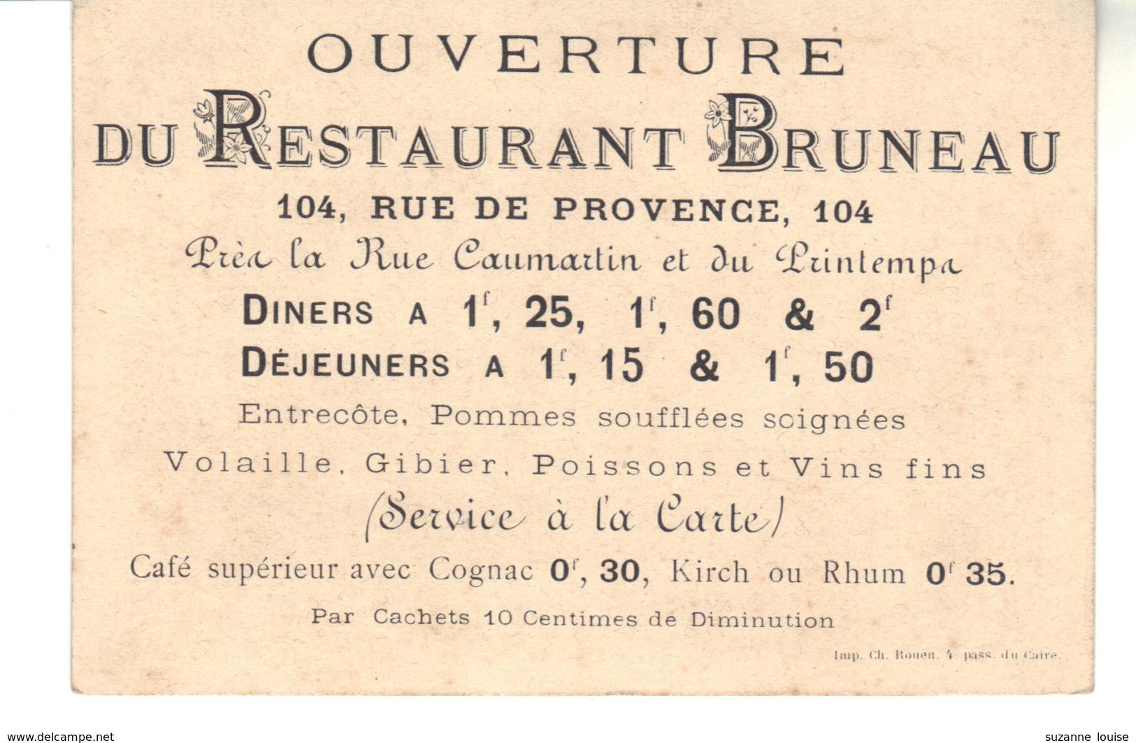 Ouverture Du Restaurant  BRUNEAU  104, Rue De Provence Paris - Cartoncini Da Visita