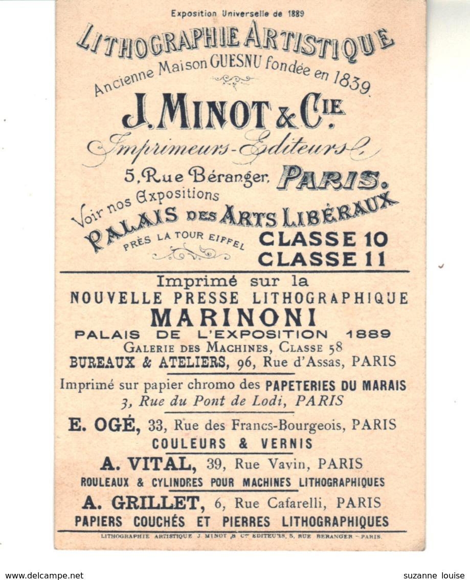 """Chromo  Célèbre J. Minot Et Cie  Lithographie Artistique  Rue Béranger Paris  Plus Ses Sous-traitants.  """"Le Galop Final"""" - Cromo"""