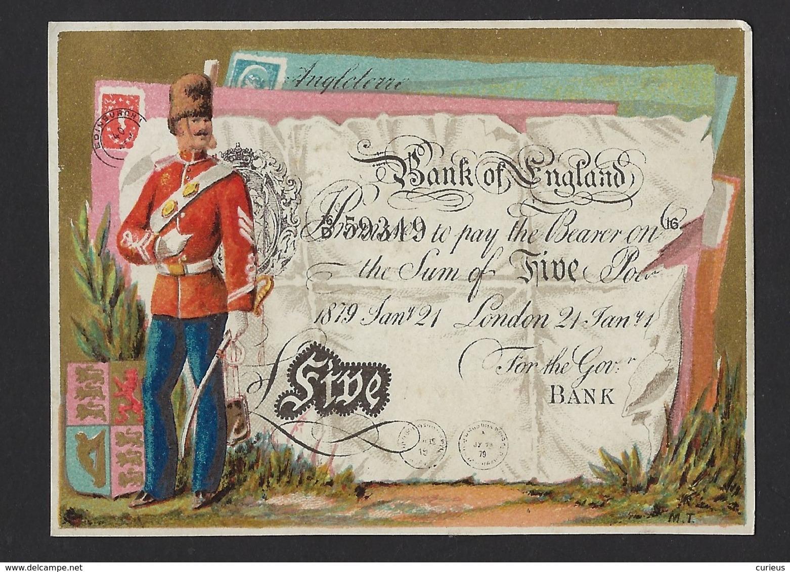 CHROMO * HIRSCH & CIE * BRUXELLES * SOLDAT ENGLAIS* ENGLISH SOLDIER * BANK OF ENGLAND * FIVE POUND NOTE * 10.5 X 8 CM - Autres