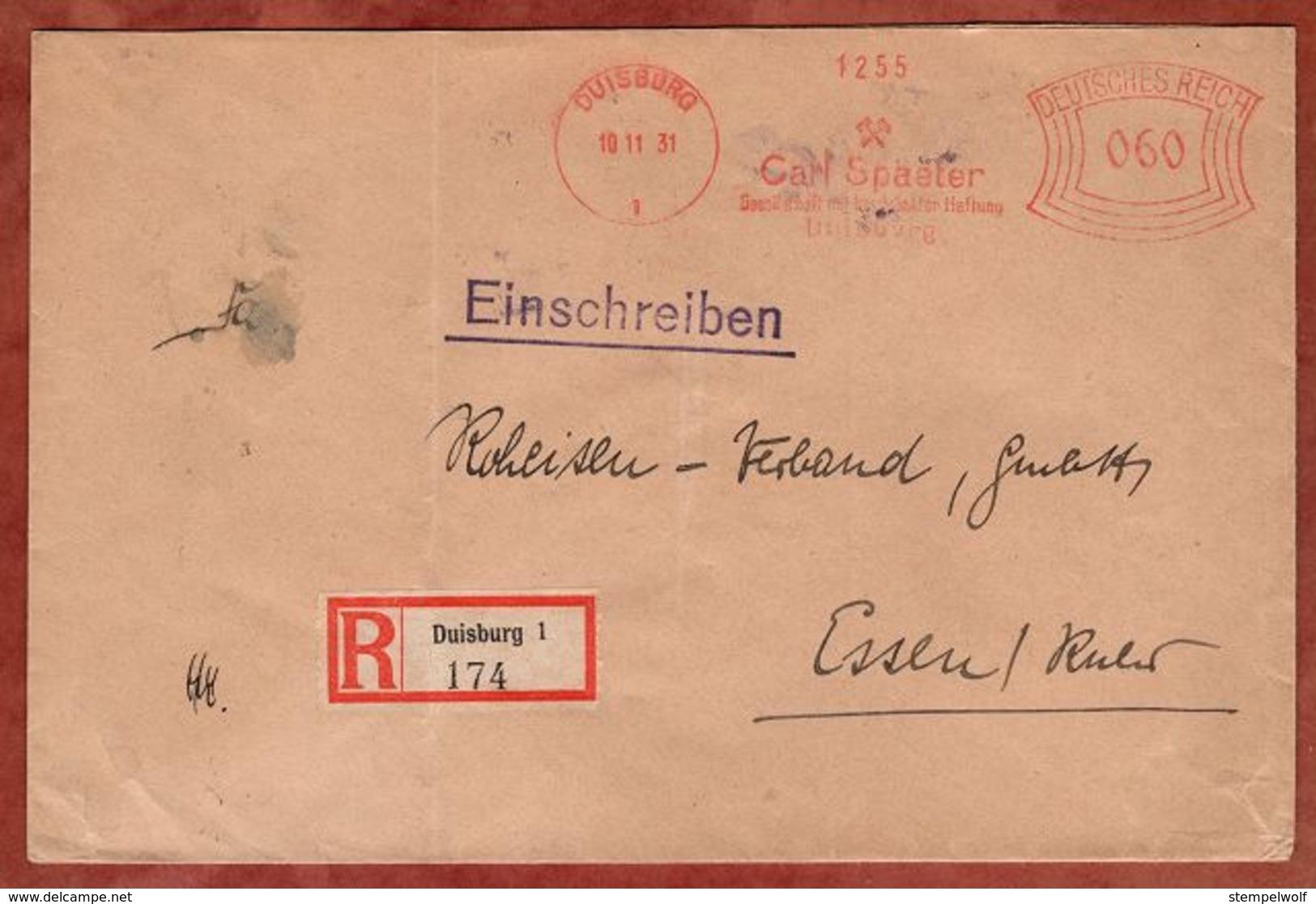 Einschreiben Reco, Absenderfreistempel, Carl Spaeter, 60 Rpf, Duisburg 1931 (82108) - Deutschland