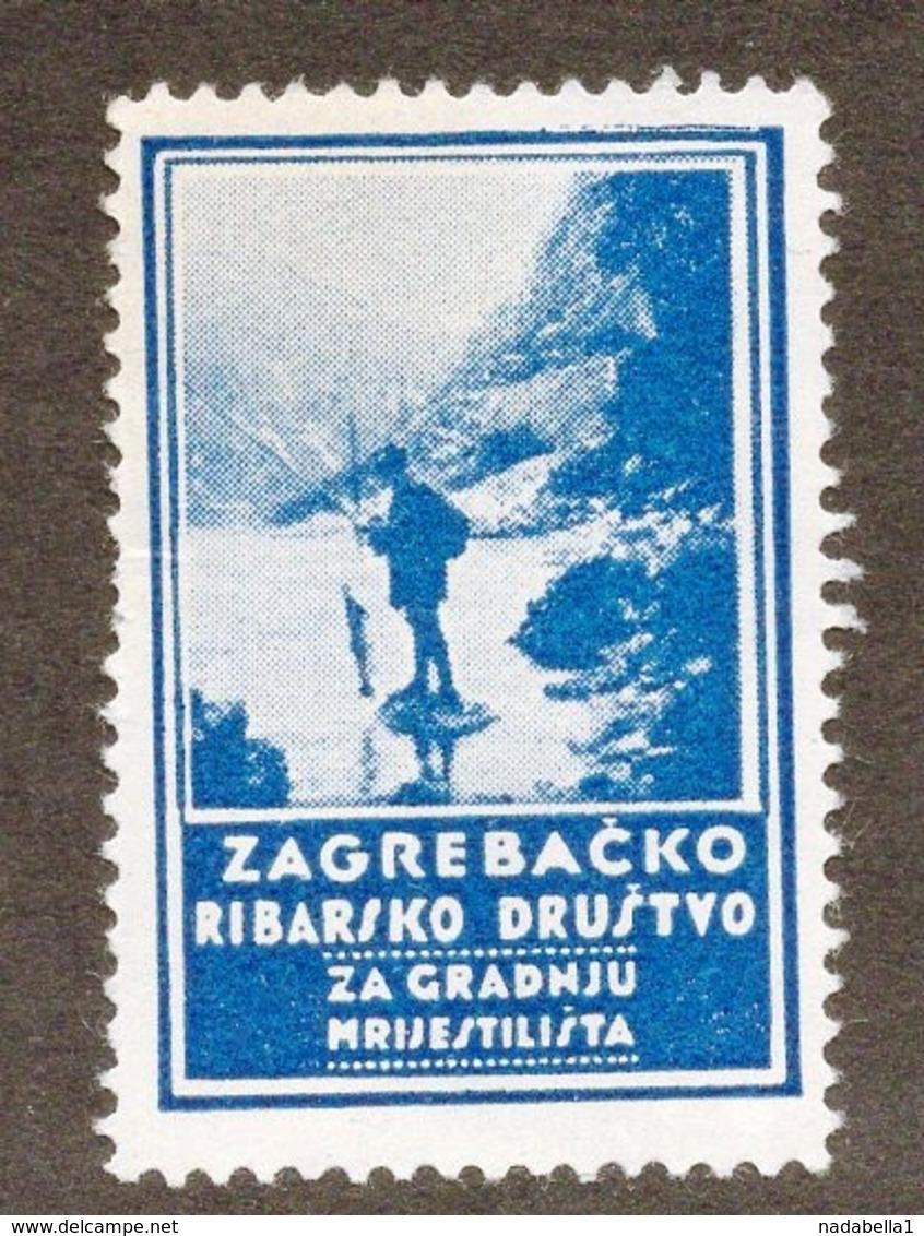 CROATIA, ZAGREB, REVENUE STAMP, ZAGREB FISHING SOCIETY - Croazia