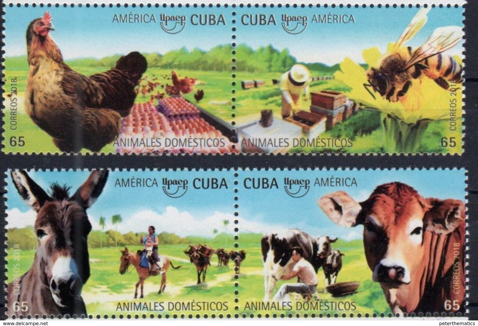 UPAEP, 2018, DOMESTIC ANIMALS, DONKEYS, CHICKENS, COWS, BEES, 4v - Abeilles