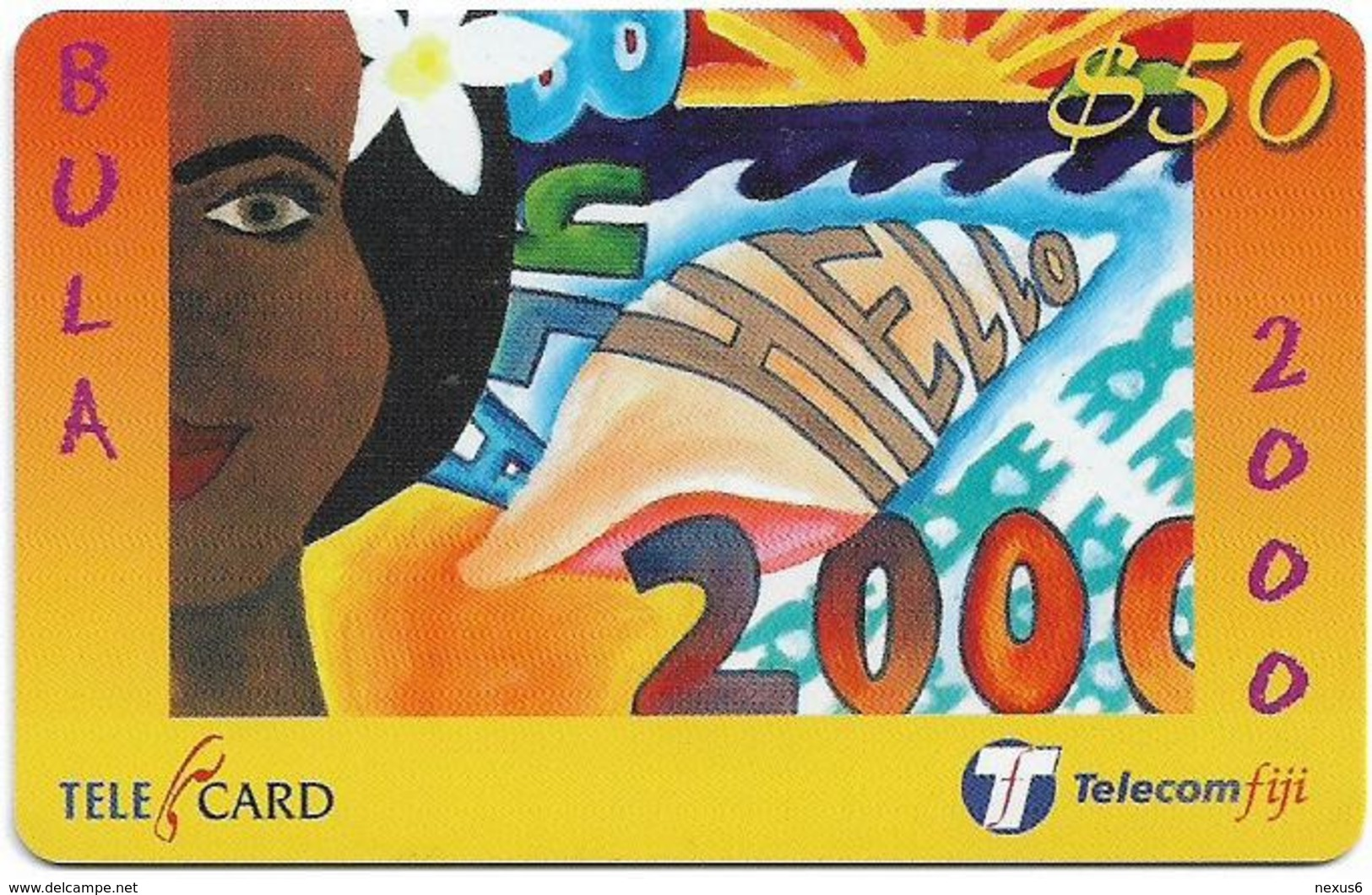 Fiji - Telecom Fiji - Bula 2000, Girl's Face, Cn.99041, Remote Mem. 50$, Used - Fiji
