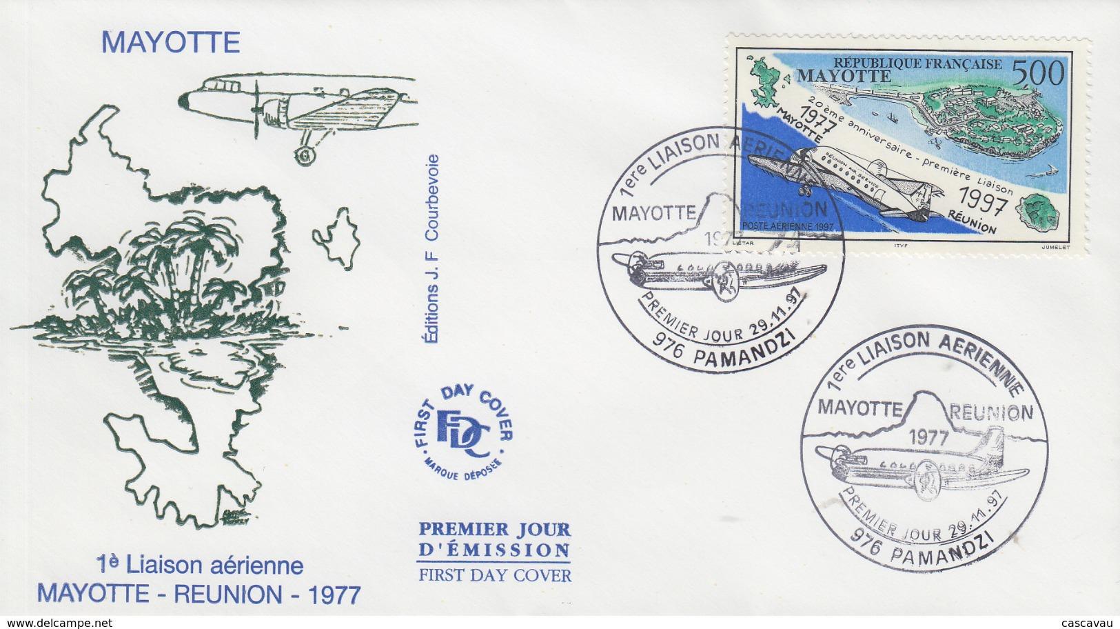 Enveloppe  FDC  1er  Jour    MAYOTTE   20éme  Anniversaire   1ére  Liaison   MAYOTTE  -  REUNION    1997 - Mayotte (1892-2011)