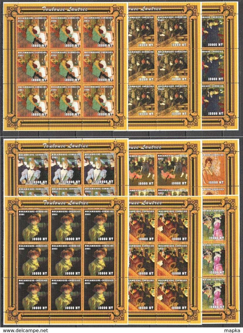 F829 2001 MOZAMBIQUE ART PAINTINGS TOULOUSE LAUTREC 9SET MNH - Art
