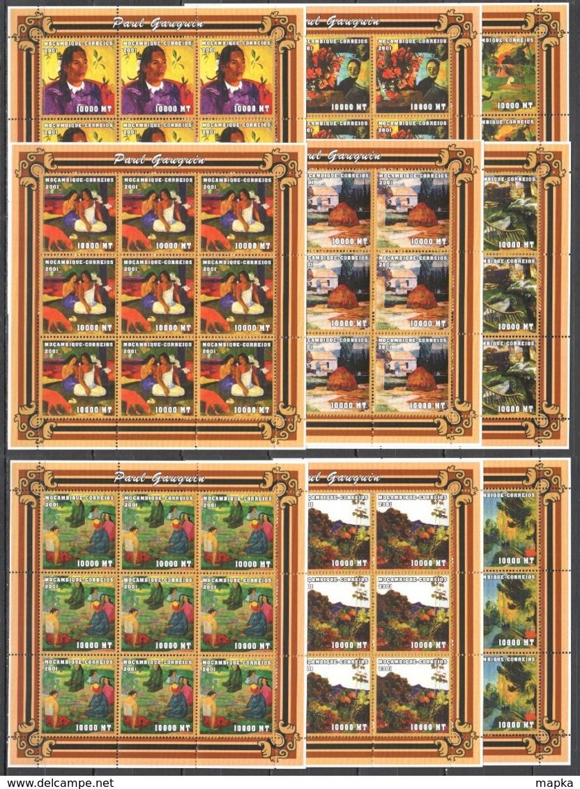 F831 2001 MOZAMBIQUE ART PAINTINGS PAUL GAUGUIN 9SET MNH - Art
