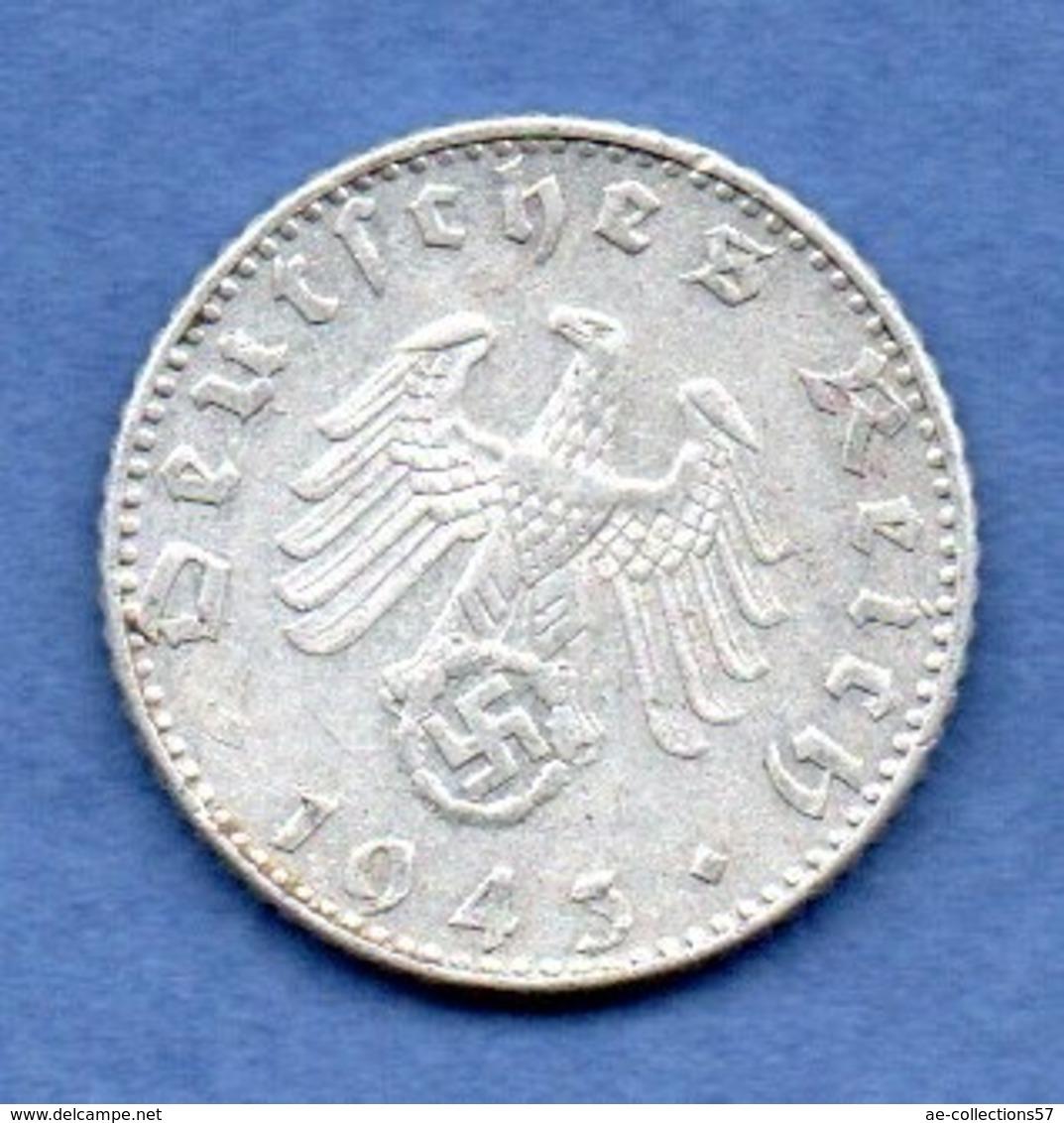 Allemagne  -  50 Reichspfennig 1943 J -  état TB+ - 50 Reichspfennig