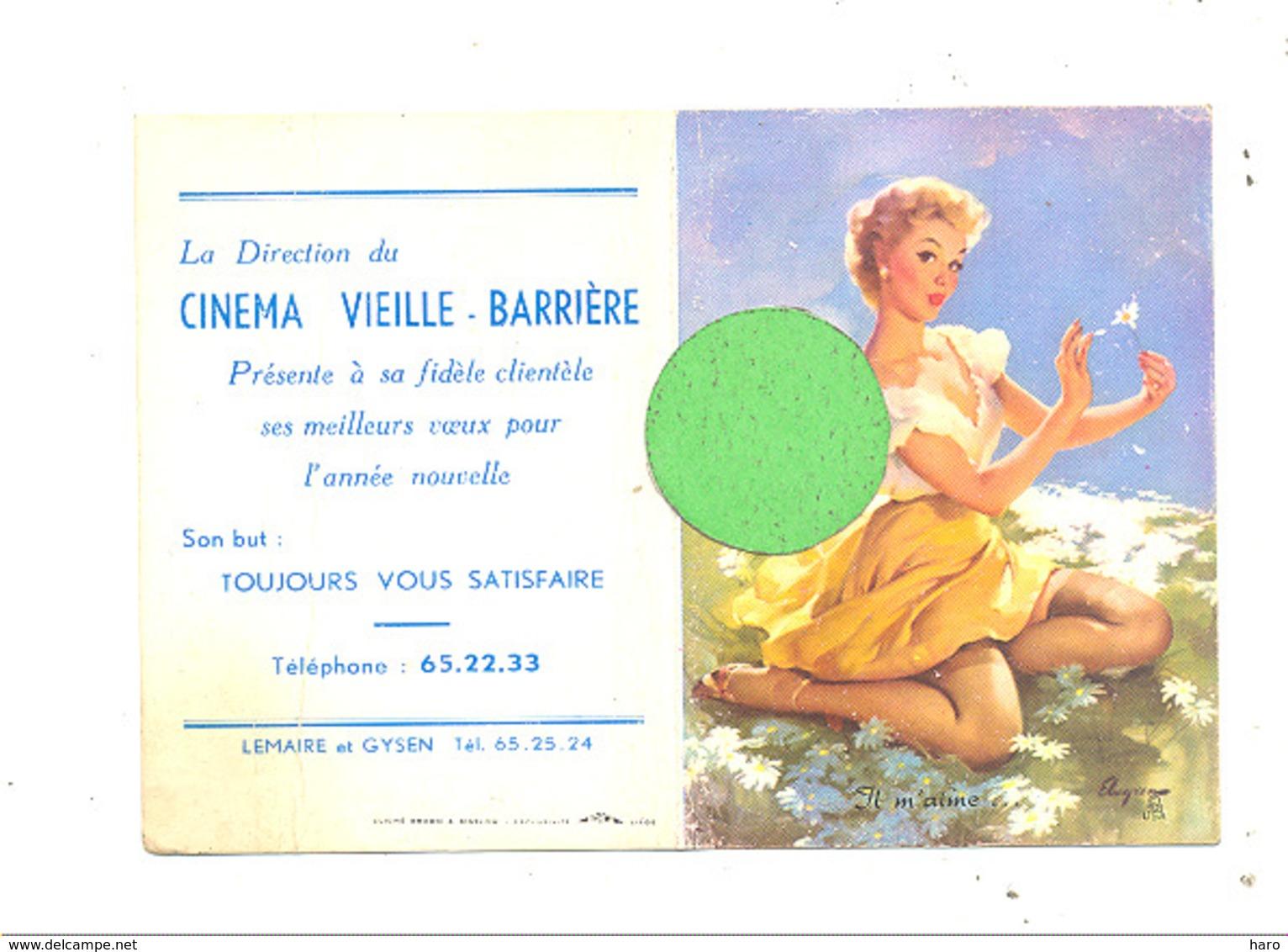 """Calendrier De Poche De 1958 - Pin-up Et Publcité  Du Cinéma """" Vieille - Barrière """" à Chênée  (b269) - Small : 1941-60"""