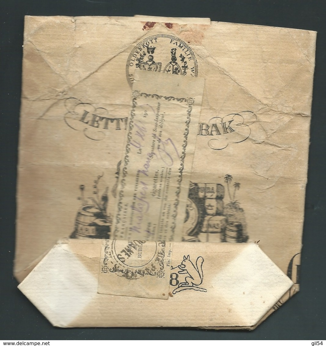 """Rare Timbre Fiscal Des Douanes Françaises Sur Paquet De Tabac """" Oldenkott Familie"""" Daté En 1903  - Raa43 - Revenue Stamps"""